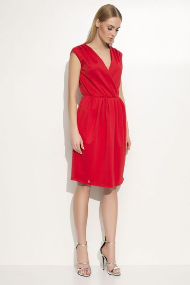 Makadamia red dress elegant flared with elastic waist airy fabric