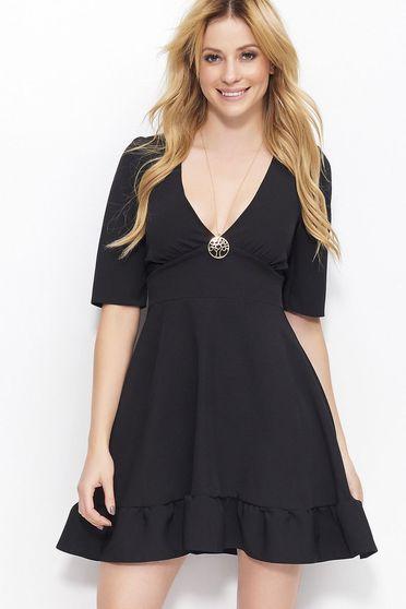 6c4ddfd49566 Makadamia black dress elegant with a cleavage 3/4 sleeve short cut thin  fabric