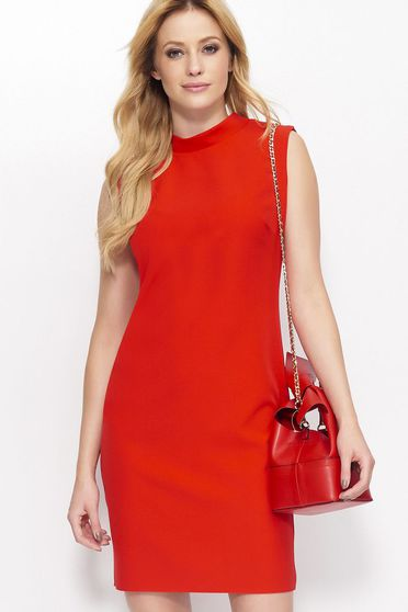 Makadamia red dress casual sleeveless short cut with straight cut thin fabric
