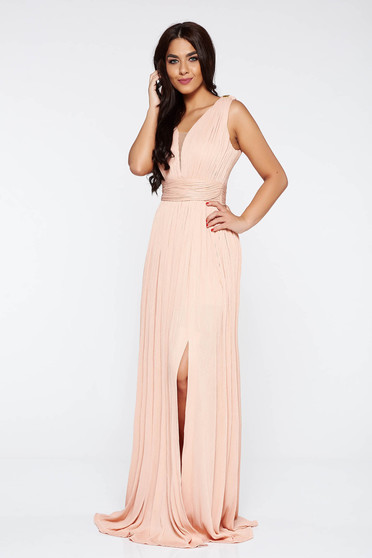 LaDonna peach occasional dress with inside lining shimmery metallic fabric with deep cleavage
