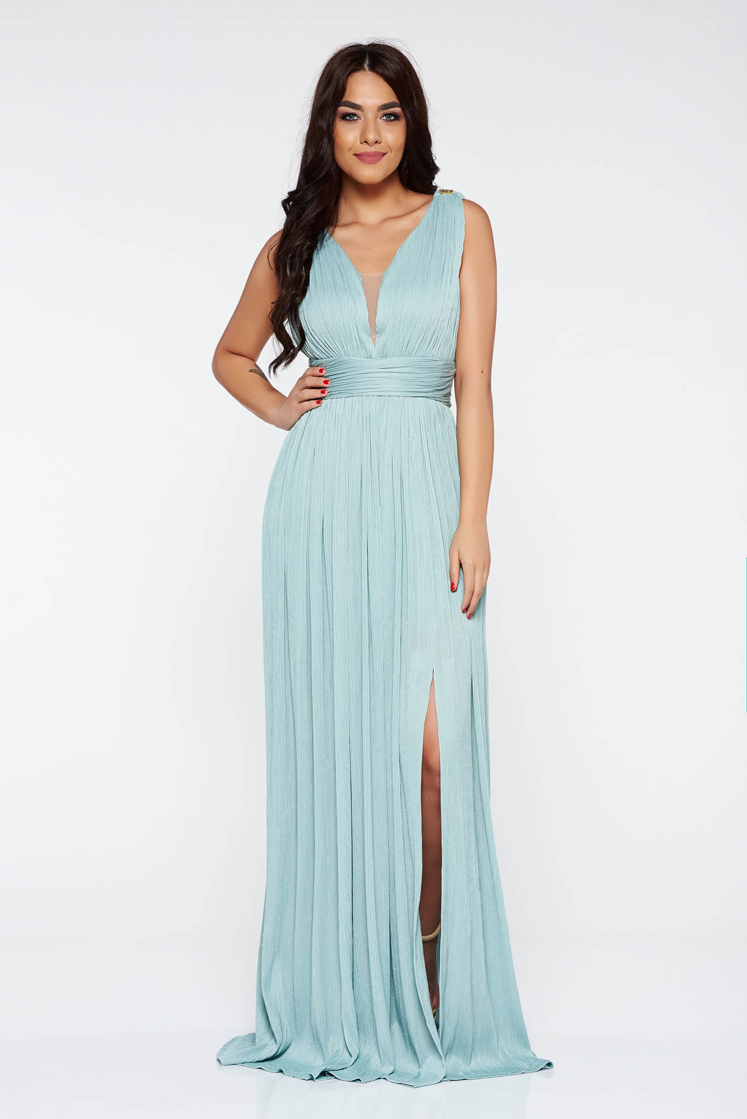 Ladonna Mint Occasional Dress With Inside Lining Shimmery Metallic Fabric