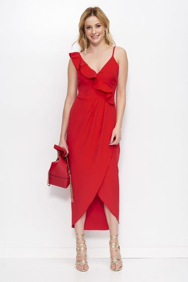 Makadamia red elegant dress asymmetrical with v-neckline with ruffle details