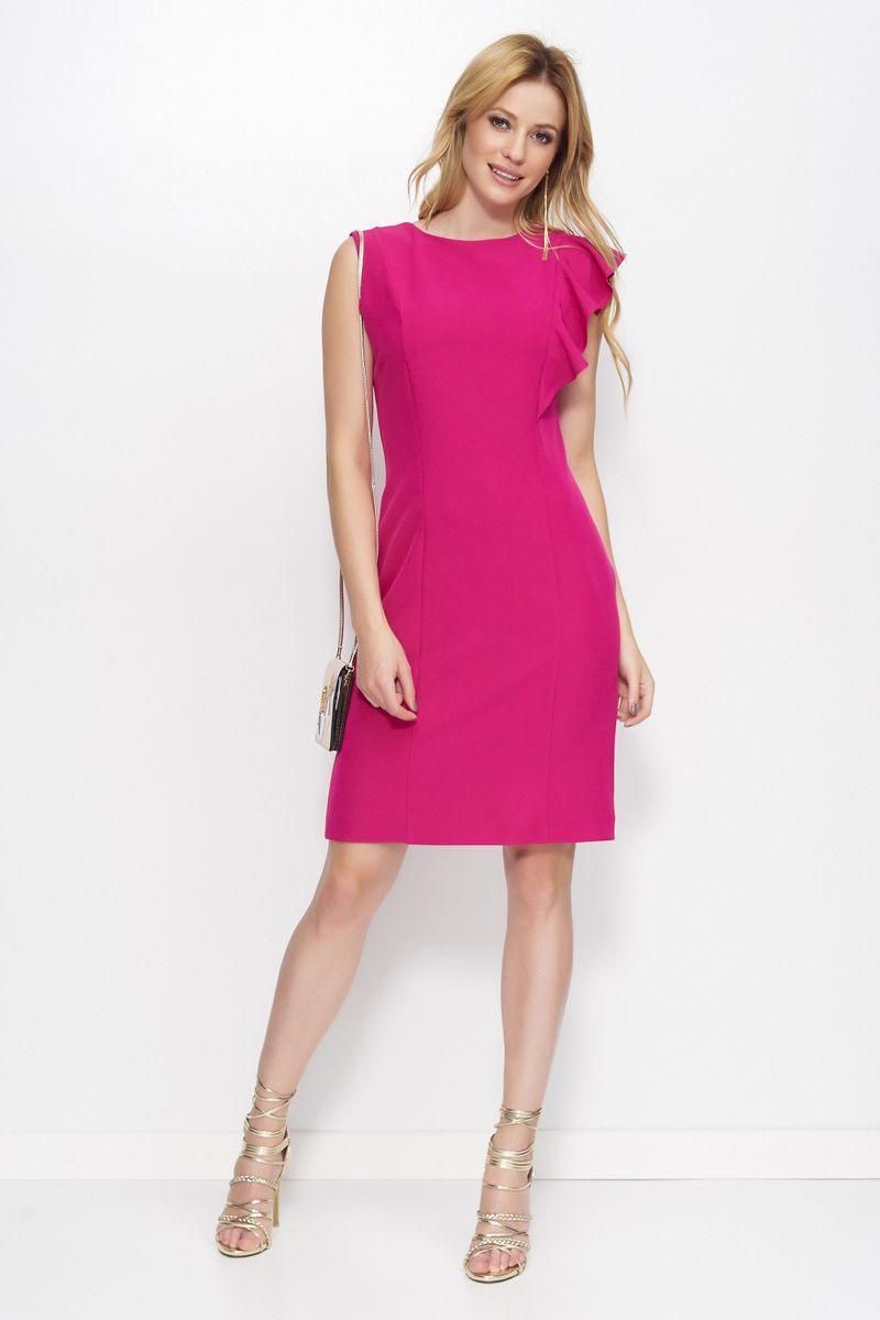 8b74f52de467 Makadamia fuchsia elegant dress with straight cut slightly elastic fabric  ...