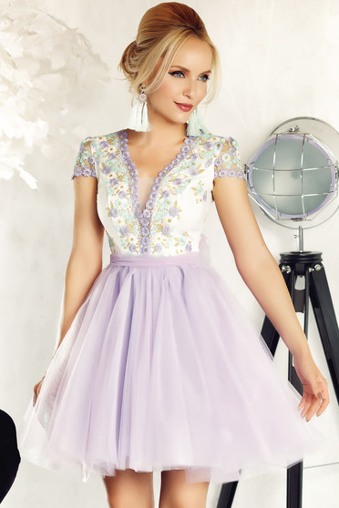 Fofy lila occasional cloche dress from tulle with embroidery details with inside lining