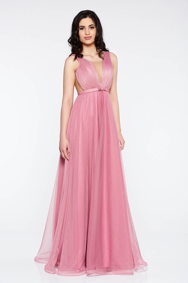 Ana Radu lightpink dress accessorized with tied waistband from tulle with deep cleavage with inside lining luxurious