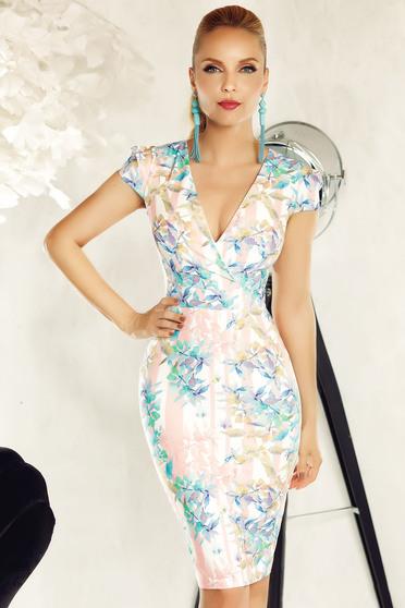 Fofy rosa elegant pencil dress slightly elastic fabric with v-neckline