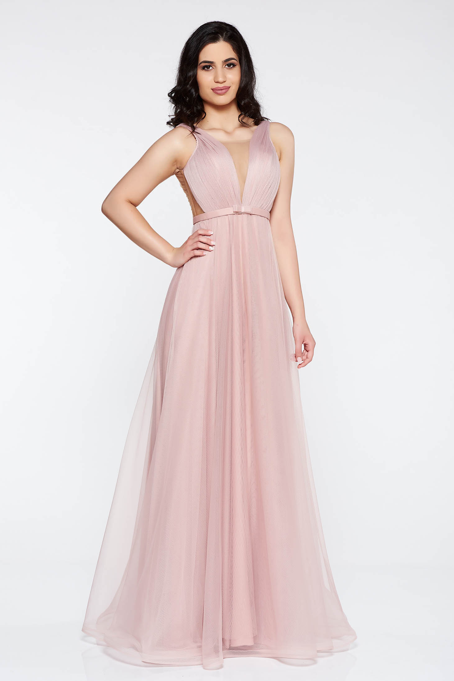 Ana Radu rosa dress accessorized with tied waistband from tulle with deep cleavage with inside lining luxurious