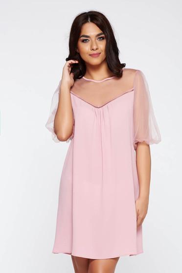 Rosa elegant flared dress transparent chiffon fabric with inside lining