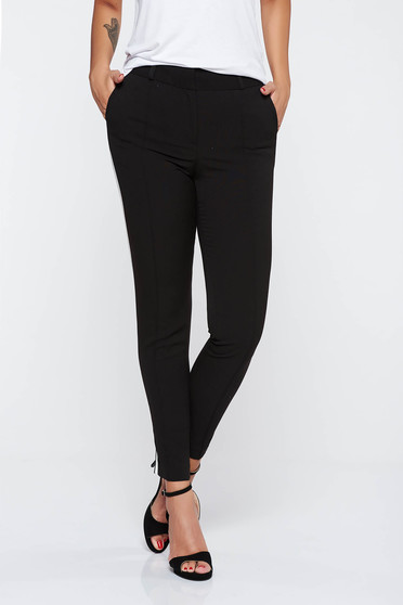 Black office trousers slightly elastic fabric with tented cut with pockets