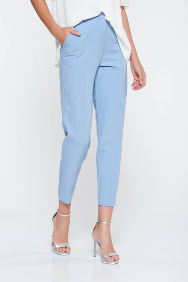 Lightblue office conical trousers slightly elastic fabric with medium waist with pockets