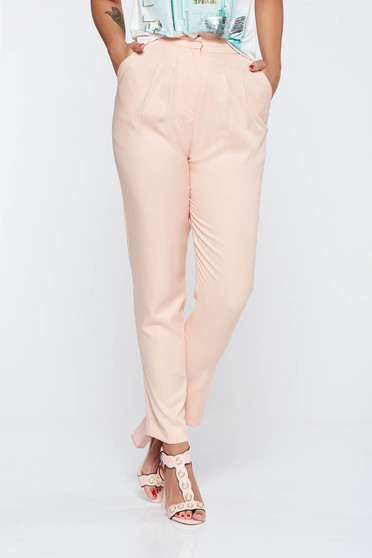 Peach conical trousers nonelastic fabric with pockets high waisted