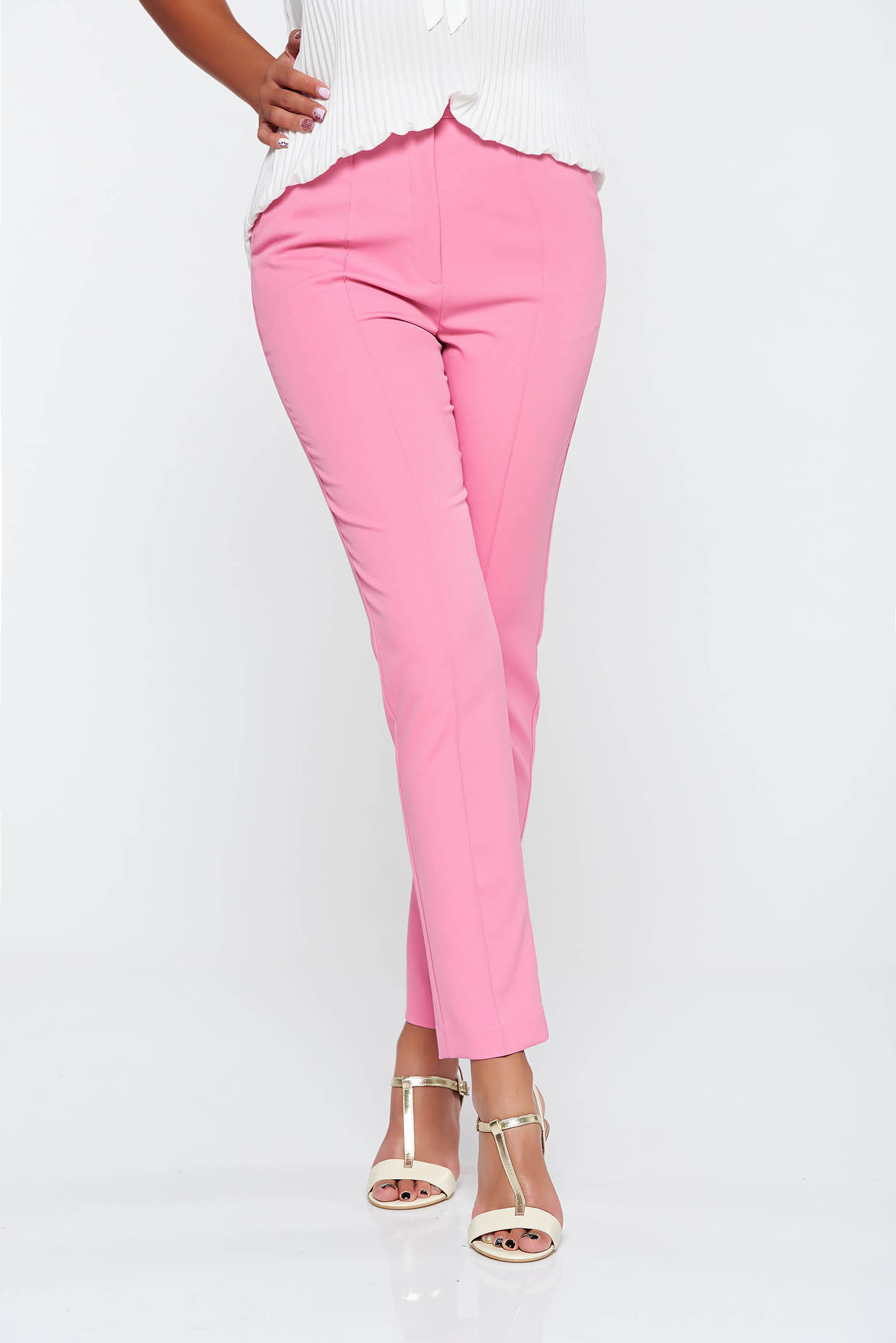 Elegant long conical pink trousers with pockets with medium waist slightly elastic fabric