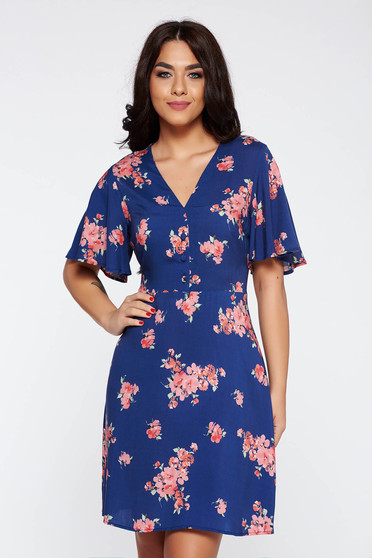 Blue daily cloche dress airy fabric from soft fabric with v-neckline
