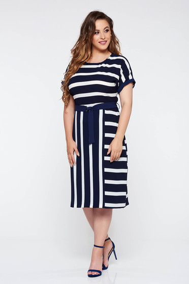 Darkblue daily dress airy fabric with inside lining accessorized with tied waistband nonelastic fabric