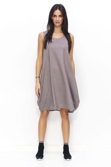 Numinou grey dress casual sleeveless flared slightly elastic cotton