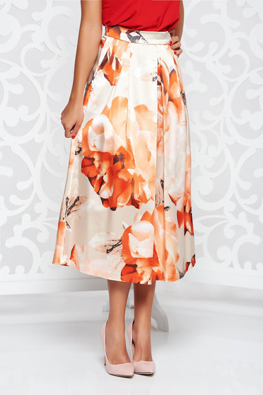 Peach elegant cloche skirt from satin fabric texture with pockets high waisted
