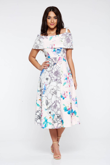 Rosa occasional cloche dress off shoulder from elastic fabric with floral prints