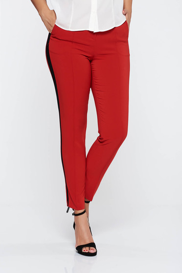 Red elegant long conical trousers with pockets with medium waist slightly elastic fabric