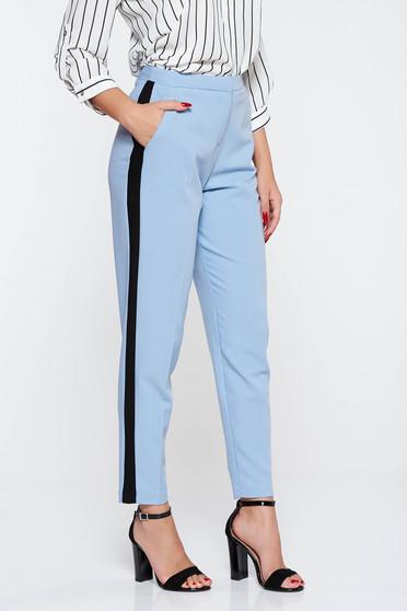 Lightblue elegant trousers with medium waist slightly elastic fabric