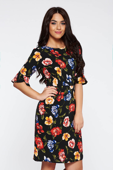 Black elegant cloche dress airy fabric with inside lining with floral prints