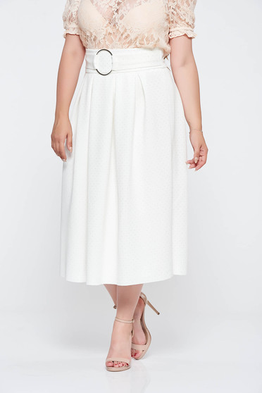 White elegant cloche skirt high waisted from soft fabric with metalic accessory