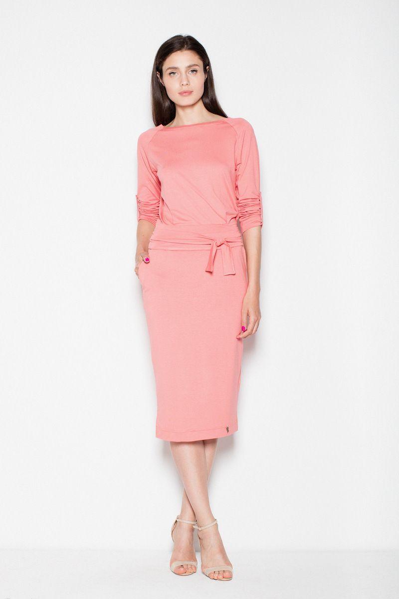 2ba549138a Venaton coral casual dress with straight cut slightly elastic thin fabric  ...