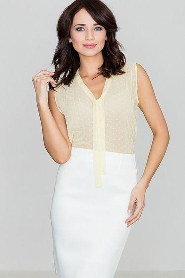 Lenitif yellow elegant flared women`s blouse transparent chiffon fabric sleeveless