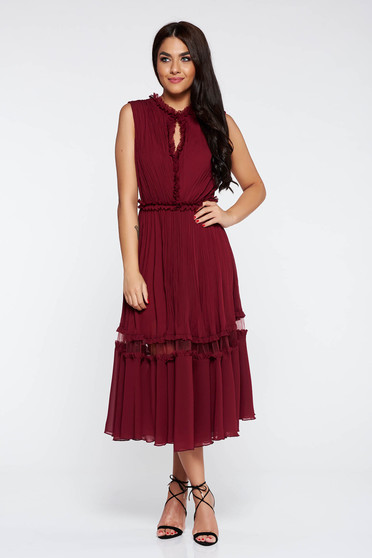 Burgundy occasional cloche dress airy fabric with inside lining with ruffle details
