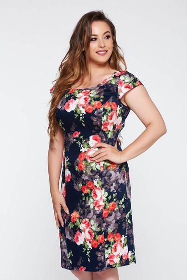 Darkblue elegant pencil dress slightly elastic cotton with floral prints