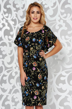 Elegant black dress slightly elastic fabric with floral prints with tented cut
