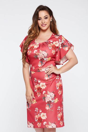 Elegant burgundy pencil dress slightly elastic fabric with floral prints