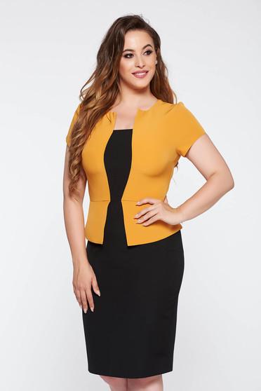 Mustard office pencil dress slightly elastic fabric frilled