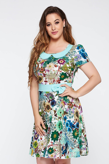 Mint daily cloche dress nonelastic fabric with inside lining with round collar with floral prints