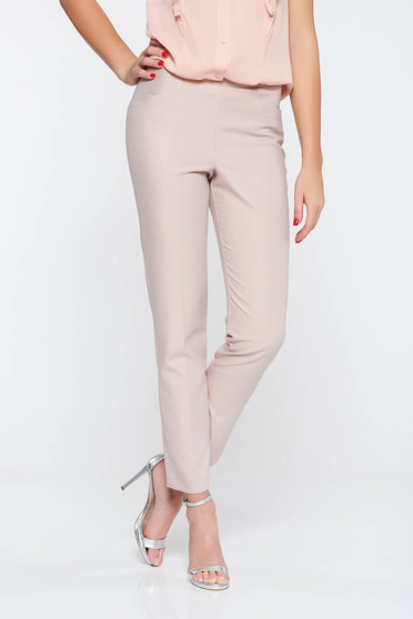 Elegant long conical rosa trousers slightly elastic fabric with medium waist with pockets