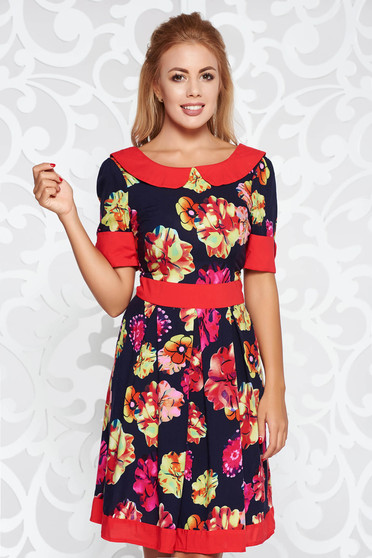 Red office cloche dress nonelastic fabric with floral prints with round collar