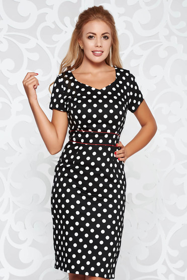 Black office pencil dress slightly elastic fabric with dots print midi