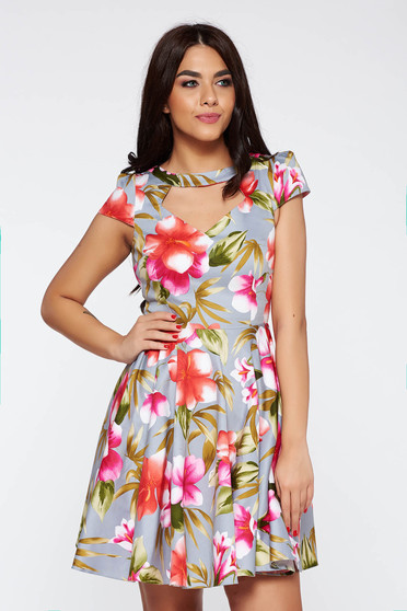 Grey daily cloche dress from elastic fabric cut-out bust design with floral prints