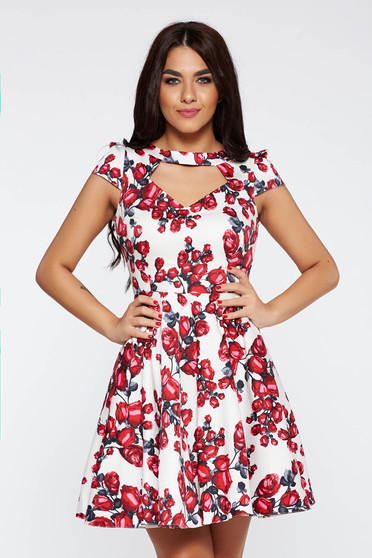 White daily cloche dress from elastic fabric cut-out bust design with floral prints