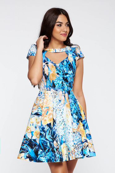 Blue daily cloche dress from elastic fabric cut-out bust design with floral prints