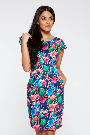 Blue daily pencil dress slightly elastic cotton with floral prints