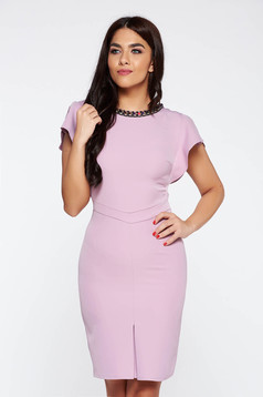 Purple elegant pencil dress flexible thin fabric/cloth with small beads embellished details