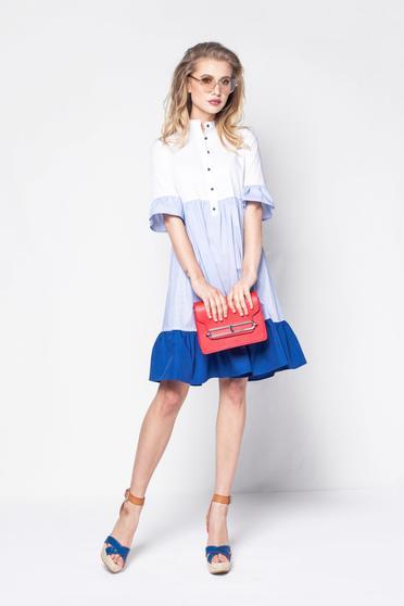 PrettyGirl blue casual flared dress slightly elastic cotton short sleeves