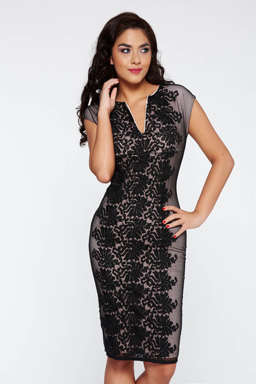 PrettyGirl black elegant pencil dress from laced fabric with inside lining short sleeve