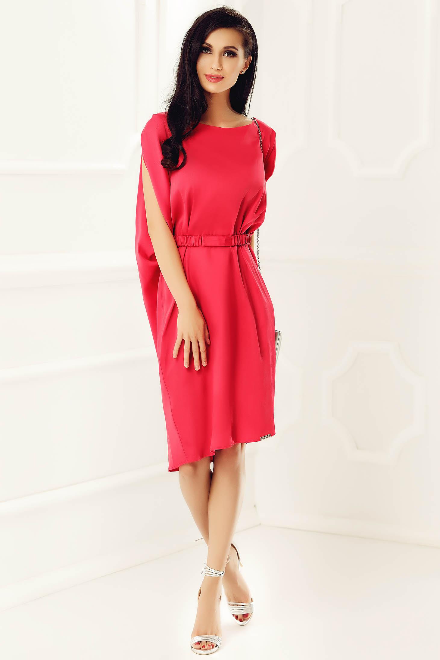 Rochie PrettyGirl rosie de party cu croi larg din material satinat accesorizata cu cordon