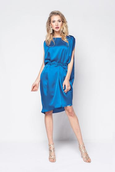 PrettyGirl blue dress clubbing from satin fabric texture with easy cut accessorized with tied waistband
