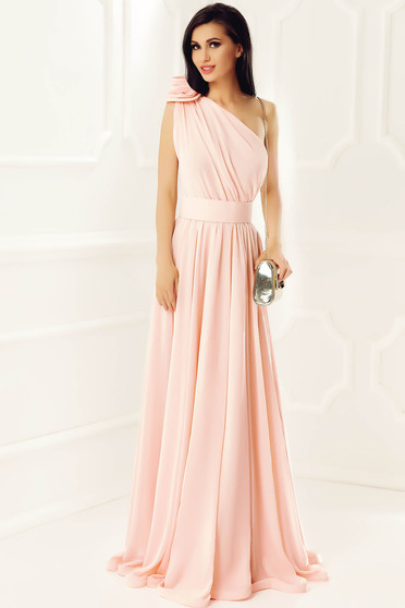 Peach Ana Radu luxurious cloche dress from veil fabric with inside lining accessorized with tied waistband long