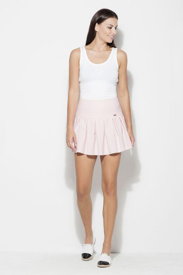 Katrus pink skirt casual cloche short cut thin fabric with medium waist