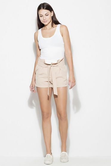 Katrus casual high waisted thin fabric with front pockets accessorized with tied waistband nude short