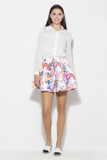 Katrus white skirt casual short cut cloche thin fabric with floral print