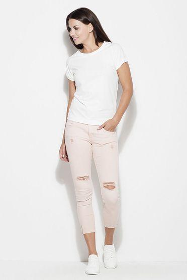 White t-shirt basic flared slightly elastic cotton short cut
